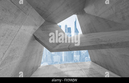Abstract concrete interior with window and futuristic cityscape skyline background. 3d render illustration - Stock Photo