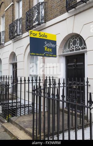 For Sale sign outside Georgian era terraced house on Canonbury Square, Islington, London N1, England,UK - Stock Photo