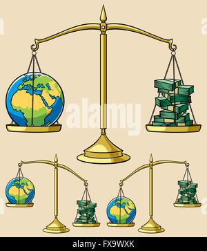 Conceptual illustration on environmental theme, representing Earth weighted on scales against money. It is in 3 - Stock Photo