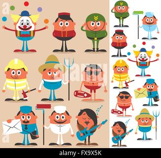 Set of cartoon characters of different occupations. - Stock Photo