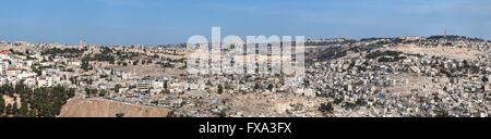 Panorama of Jerusalem with Temple Mount in the center - Stock Photo