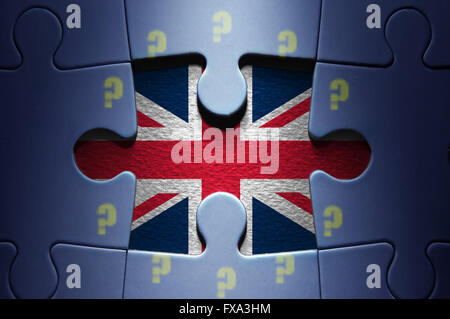 Missing piece from a jigsaw puzzle, brexit concept, revealing the British flag with question mark European flag - Stock Photo