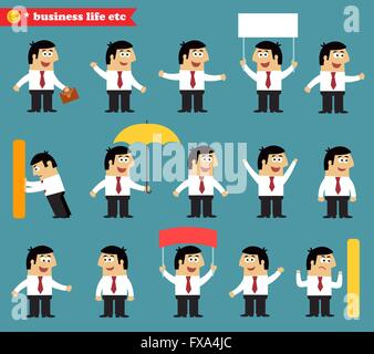 Adult at work emotional poses and situations set - Stock Photo
