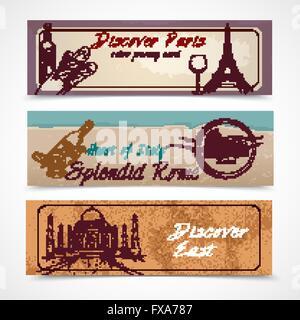 World landmark banners - Stock Photo