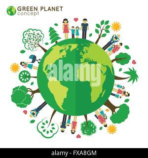 Family globe ecology - Stock Photo