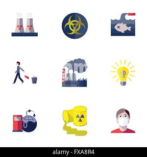 Pollution icons set - Stock Photo