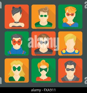 Set of superheroes stickers - Stock Photo