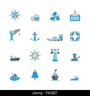 Sea port icons set - Stock Photo