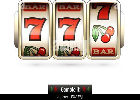 Realistic slot machine isolated - Stock Photo