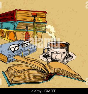 Cup of coffee and books - Stock Photo