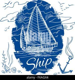 Nautical emblem with ship - Stock Photo