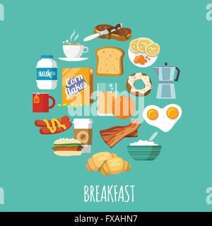 Breakfast icon flat - Stock Photo