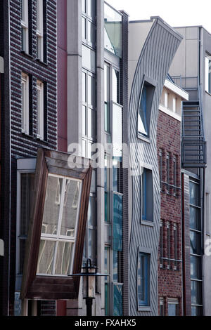 Row houses with differently designed fronts, Brantasgracht, Java Island or Java-eiland, Amsterdam, The Netherlands - Stock Photo