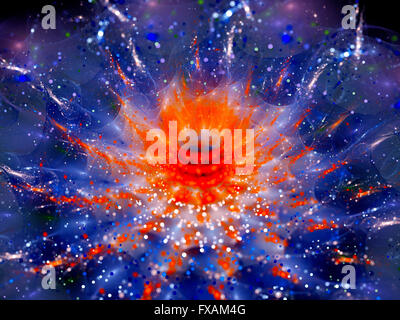 Colorful glowing flower in space with particles or wormhole, computer generated abstract background - Stock Photo