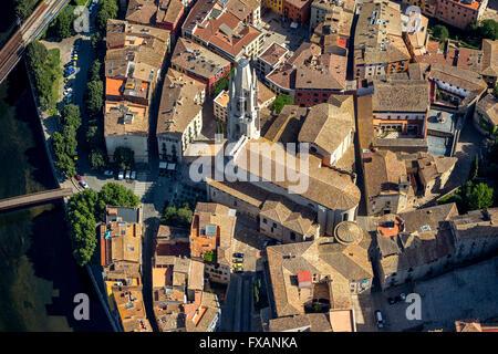 Aerial view, Sant Feliu church, Girona, Costa Brava, Catalonia, Spain, Costa Brava, Catalonia, Spain, Europe, Aerial - Stock Photo