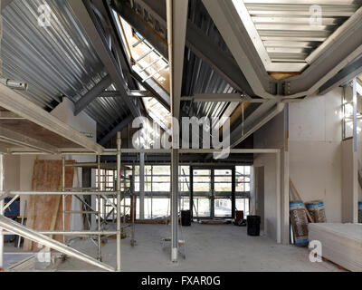 interior view of the construction of a pitched roof showing the ...