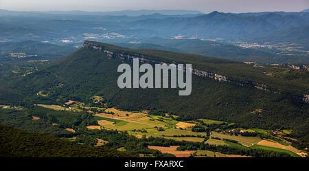 Aerial view, mesas El Pla De Sant Joan, Sant Martí de Llémena, Costa Brava, Catalonia, Spain, Europe, Aerial view, - Stock Photo