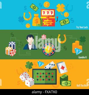 Casino Flat Banners - Stock Photo