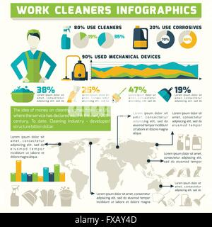 Cleaning Infographics Set - Stock Photo