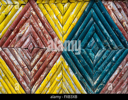 A colorful bamboo fence texture - Stock Photo