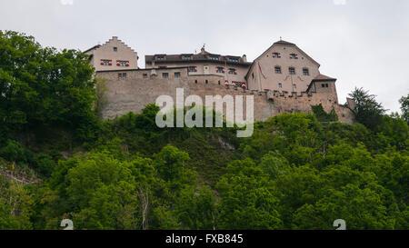 Famous Vaduz Castle as seen from the capital, Vaduz, Liechtenstein, Europe - Stock Photo