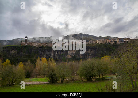 Castellfollit de la Roca is a village of Garrotxa, in the province of Girona, Catalonia, Spain - Stock Photo