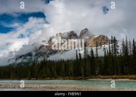 Castle Mountain, Bow River, Bow River Parkway, Banff National Park, canadian Rocky Mountains, Alberta, Canada - Stock Photo