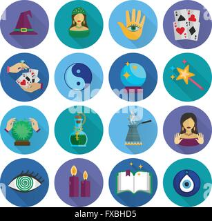 Fortune Teller Icons Flat - Stock Photo