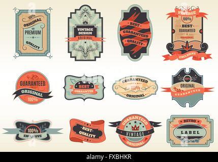 Original retro labels emblems collection - Stock Photo