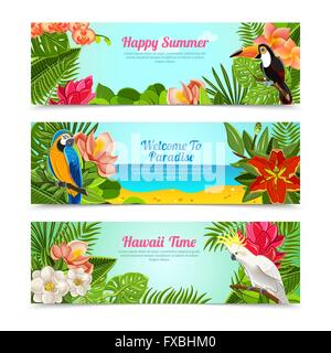 Tropical island flowers horizontal banners set - Stock Photo