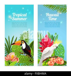 Tropical island birds vertical banners set - Stock Photo
