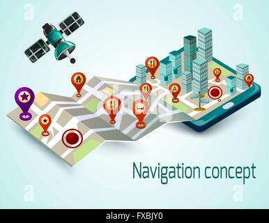 Mobile Navigation Concept - Stock Photo