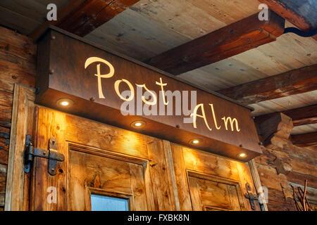 Post Alm Bar & Restaurant at Alpbach, Tyrol, Austria. Nobel prize winner Erwin Schrodinger is buried in the Alpbach - Stock Photo