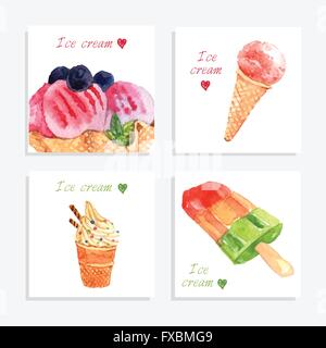 Ice cream watercolor icons composition banner - Stock Photo
