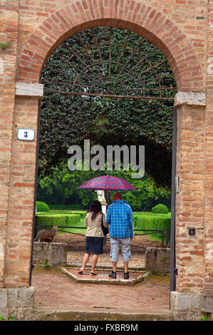 San Quirico d'Orcia, Horti Leonini Gardens, Val d'Orcia, Orcia Valley, UNESCO World Heritage Site,  Siena Province - Stock Photo
