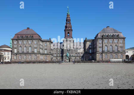 Christiansborg Palace - The Danish Parliament building in Copenhagen, Denmark - home of the Folketinget, seen from - Stock Photo
