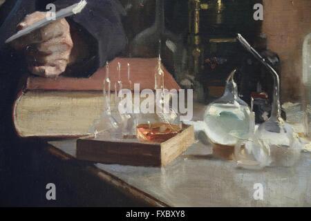 Louis Pasteur. Portrait, 1885 by painter Albert Edelfelt (1854-1905). Oil on canvas. Detail: Laboratory material. Orsay Museum.