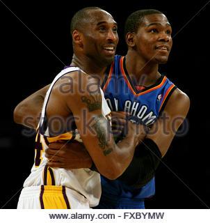Los Angeles, California, USA. 18th Apr, 2010. Oklahoma City Thunder forward Kevin Durant (35) with Los Angeles Lakers - Stock Photo