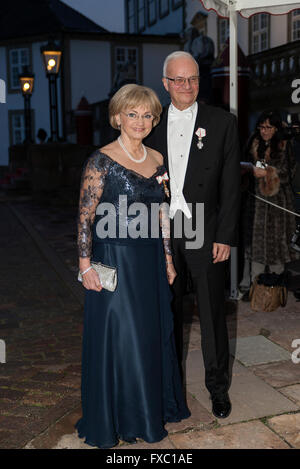 Fredensborg, Denmark, April 13th, 2016. Speaker of the House, Mrs. Pia Kjaersgaard and husband, arrive to the royal - Stock Photo