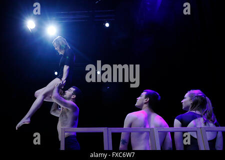 London, UK. 13th Apr, 2016. Acrobatic artists perform during a rehearsal of the world premiere of 'Closer' performed - Stock Photo