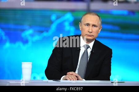 Moscow, Russia. 14th Apr, 2016. Russian President Vladimir Putin during his annual call-in show broadcast on live - Stock Photo