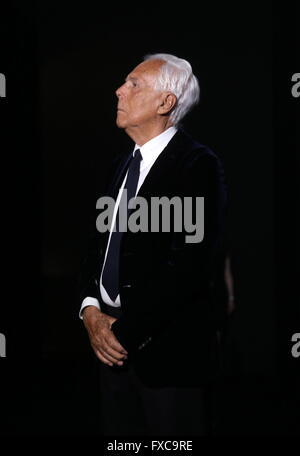 Moscow, Russia. 14th Apr, 2016. Italian fashion designer Giorgio Armani attends a runway show for his brand's fall - Stock Photo