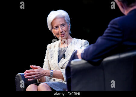 Washington DC, USA. 14th April, 2016. Managing  Christine Lagarde, Director of the International Monetary Fund (IMF), - Stock Photo