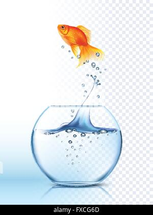 Golden Fish Jumping Out Bowl Poster - Stock Photo