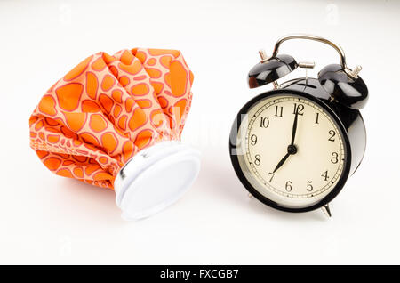 Waking up to a hangover, a conceptual shot - Stock Photo