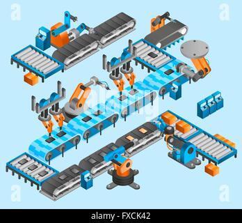 Industrial robot isometric concept - Stock Photo