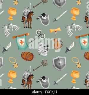 Knight Seamless Pattern - Stock Photo