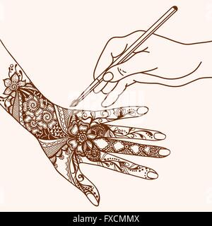 Hand Drawing Mehendi - Stock Photo