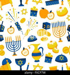 Seamless Pattern With Hanukkah Symbols - Stock Photo