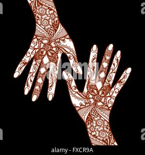 Mehendi Hands On Black Background - Stock Photo